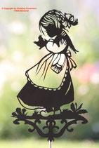 Art.Nr.: 6035G Gartenstecker Mädchen mit Vogel