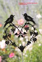 Art.Nr.: 6043G Gartenstecker Herz mit Vögel