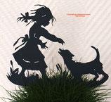 Art.Nr.: 6262ST - Pflanzenstecker Mädchen mit Hund