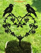 Art.Nr.: 6297ST - Pflanzenstecker Herz mit Vögel