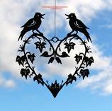 Art.Nr.: 8017F Fensterbild Herz mit Vögel