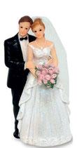 Sposi Diamante con bouquet a destra
