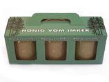 Geschenkverpackung für 3 x 500 g Honigglas