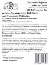 Paket Griffregister OHNE Stichworte für SteuerGesetze, -Richtlinien und Erlasse, mit 550 FOLIEN  - Artikel Nr. 1347