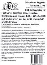 Steuerfachwirt/Prüfung Dürckheim Griffregister Nr. 1378 / Sparpaket