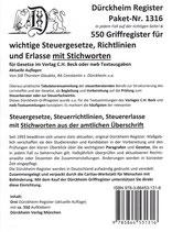 Paket Griffregister mit STICHWORTEN für SteuerGesetze, -Richtlinien und Erlasse, - Artikel Nr. 1316