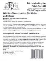 Paket Griffregister OHNE Stichworte für SteuerGesetze, -Richtlinien und Erlasse  - Artikel Nr. 1330