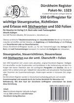 Paket Griffregister mit STICHWORTEN für SteuerGesetze, -Richtlinien und Erlasse mit 550 FOLIEN Artikel Nr. 1323