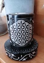 Räucherstövchen mit Sieb - Blume des Lebens - schwarz