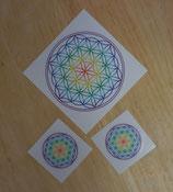 """Aufkleber """"Blume des Lebens"""" Regenbogen - Chakra transparent"""