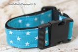 Halsband, Türkis- weiße Sterne, Acetal