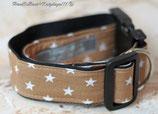 Halsband, Hellbraun - weiße Sterne, Acetal