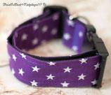 Halsband, Lila - weiße Sterne