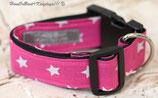 Halsband, Pink - weiße Sterne, Acetal