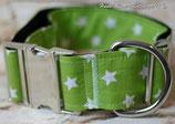 Halsband, knallig grün - weiße Sterne, Metallverschluss