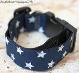 Halsband, Marineblau - weiße Sterne, Acetal