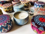 Mandala - Kerzen in Metalldose mit Deckel
