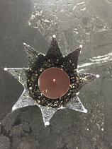 Krone mit Teelicht  in Grau
