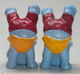 Varianten Purzel Peter Hemd gelb + orange Happy Hippos im Fitnessfieber 1990