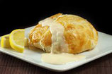 Chicken fillet stuffed with goats cheese and chorizo, and wrapped in puff pastry