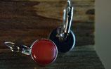 Ohrhänger, rosé/vergoldet mit rotbraunem Glas