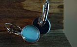 Ohrhänger, rosé/vergoldet mit blauem Glas