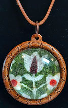 Halskette Holz mit Glascabochon