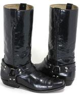 Schwarze Lacklederbikerstiefel von Buffalo, neue Absätze, Größe 41