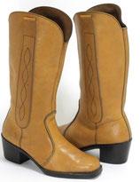 Hellbraune 70er Jahre Look Stiefel, neue Absätze, Größe 40