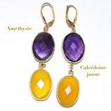 Boucles d'oreilles Améthyste et Calcédoine jaune