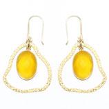 Boucles d'oreilles petit nuage Calcédoine jaune