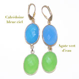 Boucles d'oreilles Calcédoine bleue et Agate vert d'eau