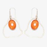 Boucles d'oreilles moyen nuage Calcédoine orange
