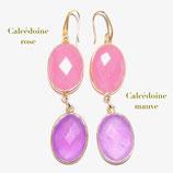 Boucles d'oreilles Calcédoine rose et Calcédoine mauve