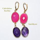 Boucles d'oreilles Calcédoine fuchsia et Améthyste