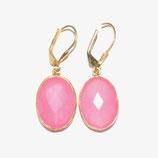 Boucles d'oreilles Calcédoine rose