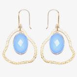 Boucles d'oreilles petit nuage Calcédoine bleue