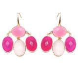 Boucles d'oreilles Calcédoine rose, fuchsia et Quartz rose