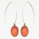 Boucles d'oreilles wishbone Calcédoine orange