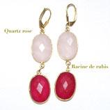 Boucles d'oreilles Quartz rose et Racine de Rubis