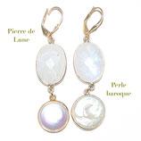 Boucles d'oreilles Pierre de Lune et Perle baroque