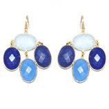 Boucles d'oreilles Calcédoine bleue, ciel et Lapis lazuli