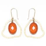 Boucles d'oreilles petit nuage Calcédoine orange