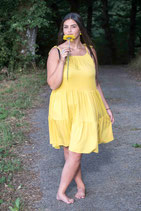 Short Summerdress in yellow and pink