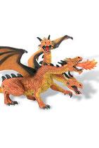Figura Dragón con 3 cabezas (naranja) 20 cm