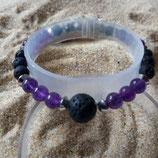 améthyste / lave / perle 6-10mm - bracelet