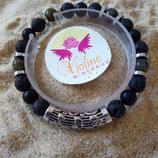labradorite / Lave / onyx perle 8mm - bracelet tube