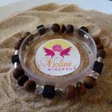 oeil de tigre / Lave perle 8mm - bracelet