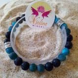 Apatite bleue / lave perle 8mm - bracelet