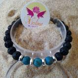 Apatite bleue / lave / perle 8mm - bracelet